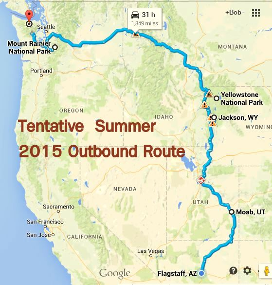 This si my tentative summer travel plans. You're welcome to join me for all or part of the trip. It begin and ends in Flagstaff, AZ where I will leave the trailer in storage and just travel in the van.