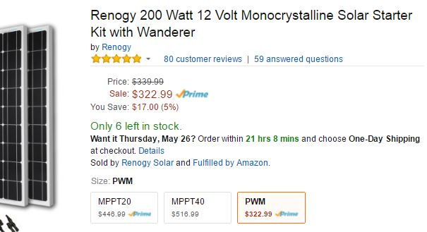 renogy price from Amazon