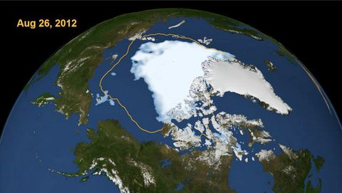 In this NASA Satellite photo we see the arctic Ice pack in 2012. The yellow line is  it's 40 year average size. It's shrunk by half.